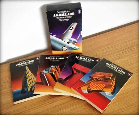 Penguin JG Ballard series shown with four books plus slipcase with airbrush illustrations by David Pelham
