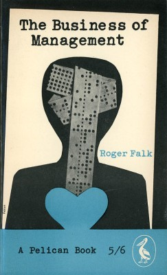 silhouette of human figure with computer punch tape for cover of book on management