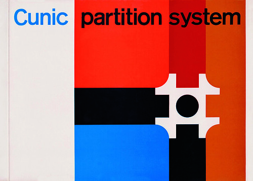 image shows Romek Marber's modernist grid design for Cunic Partition System