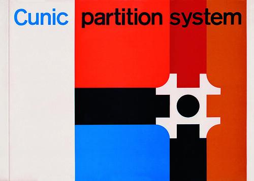 image shows Romek Marber's modernist grid design for Cunic Partition System