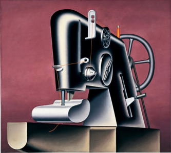 Konrad Klapheck painting of sewing machine in smooth painting style