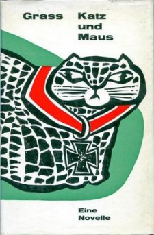 cover of early german edition of Katz und Maus by Gunter Grass with drawing of cat by the author