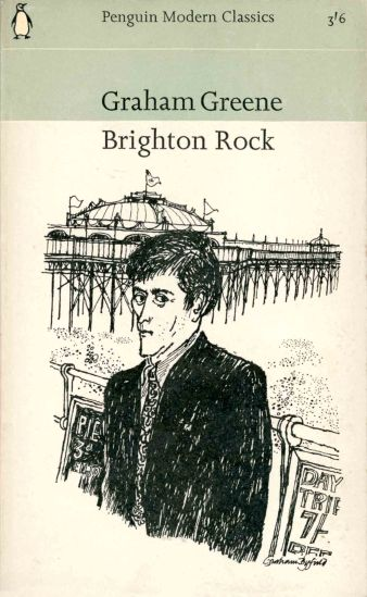 Cover of Brighton Rock with drawing by Graham Byfield of worried man near Brighton Pier
