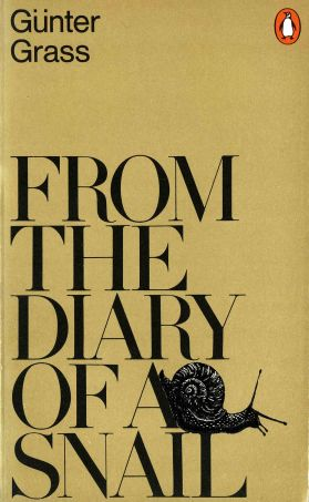 gold book cover with large Bodoni type and drawing of a snail, for Gunter Grass nover, From the Diary of a Snail.