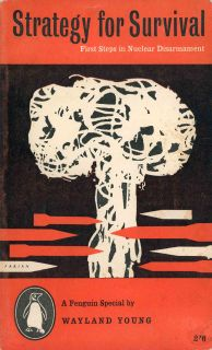 Atomic bomb cloud with rockets as illustration for book about nuclear war
